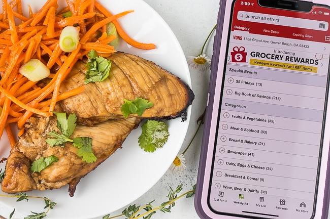 grilled honey garlic chicken with vons app on phone