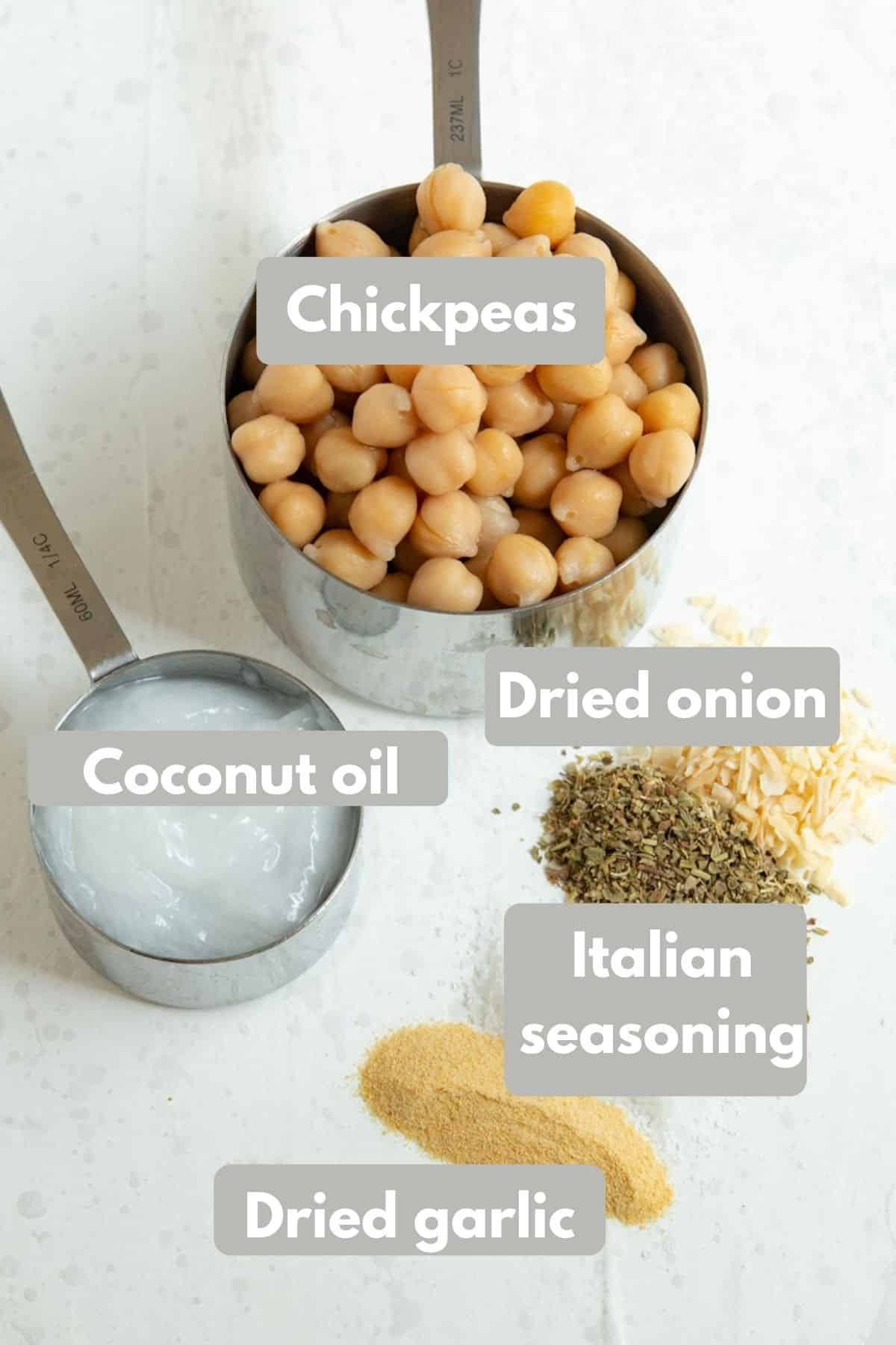 ingredients for roasted chickpeas