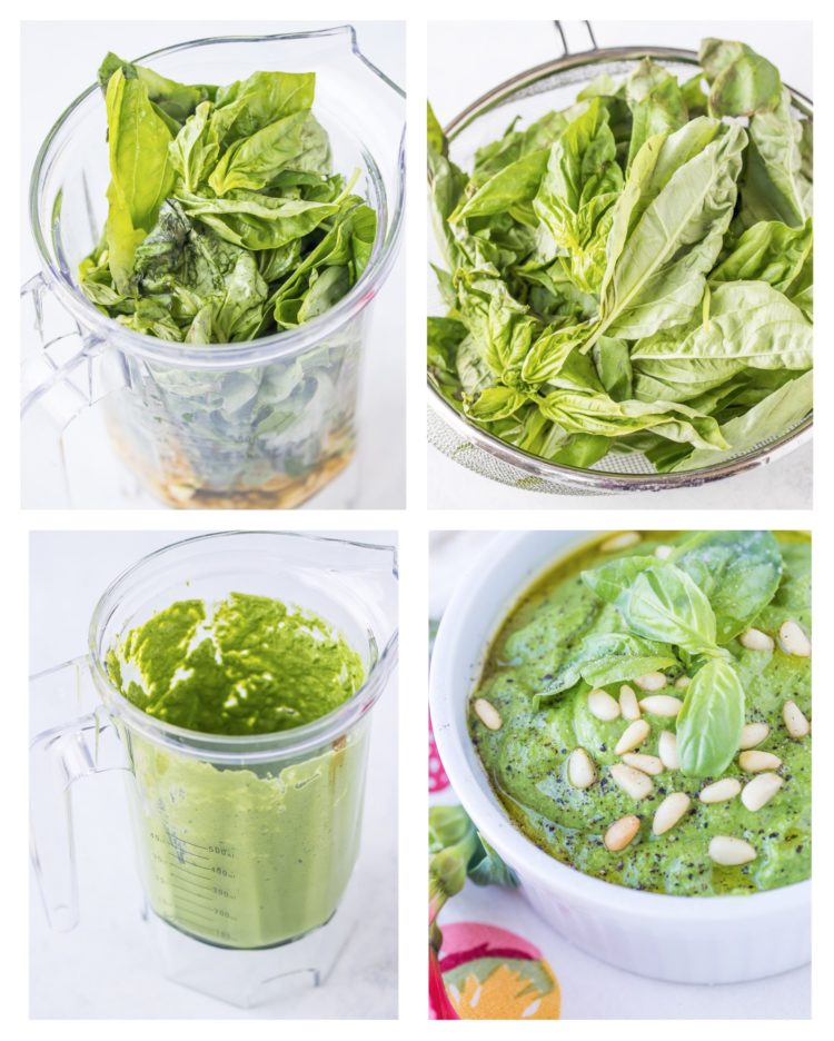 vegan pesto process shots