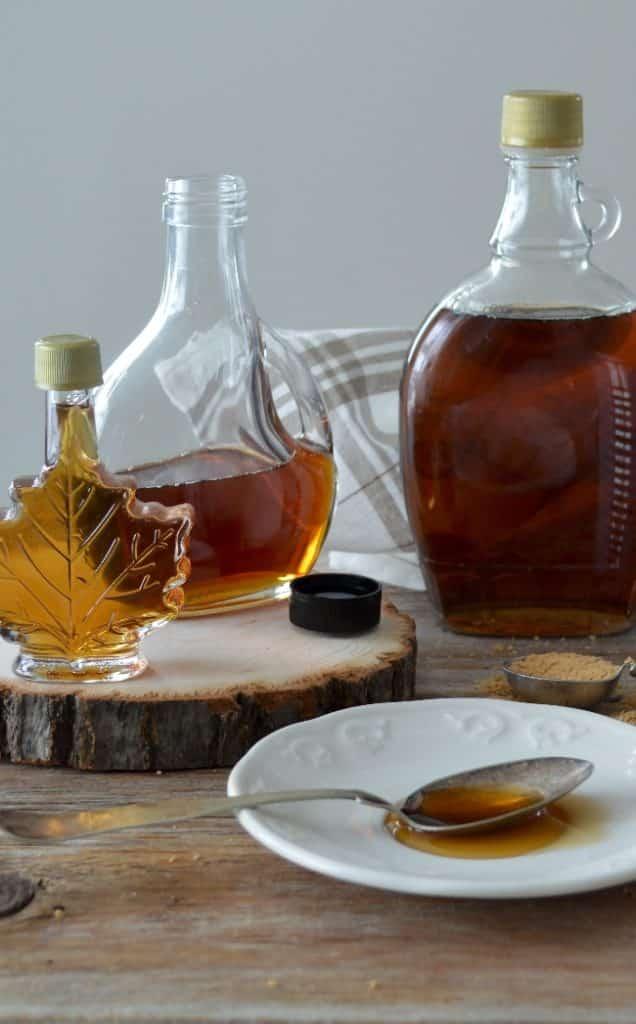 Maple syrup in a glass bottle
