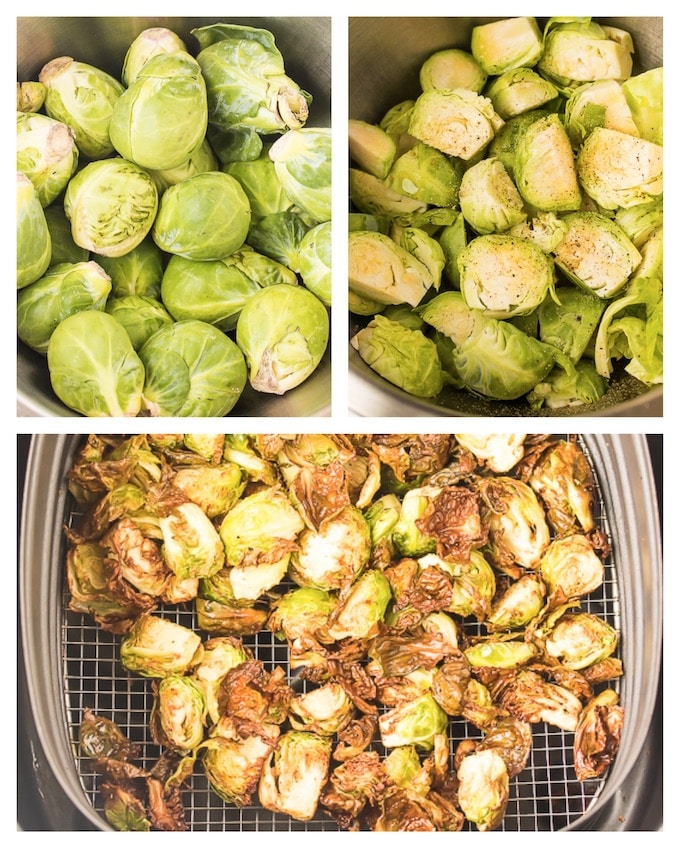 Wash, season and air fry brussels sprouts for a vegan, dairy free and gluten free side dish.
