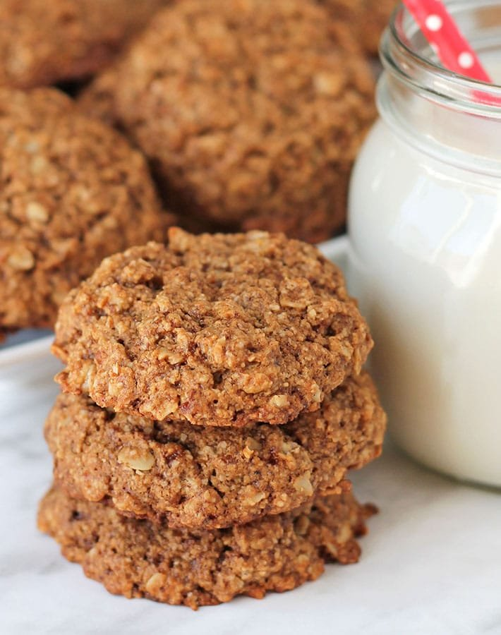 oatmeal cookies with a jar of milk