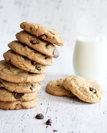 cookie stack with almond milk