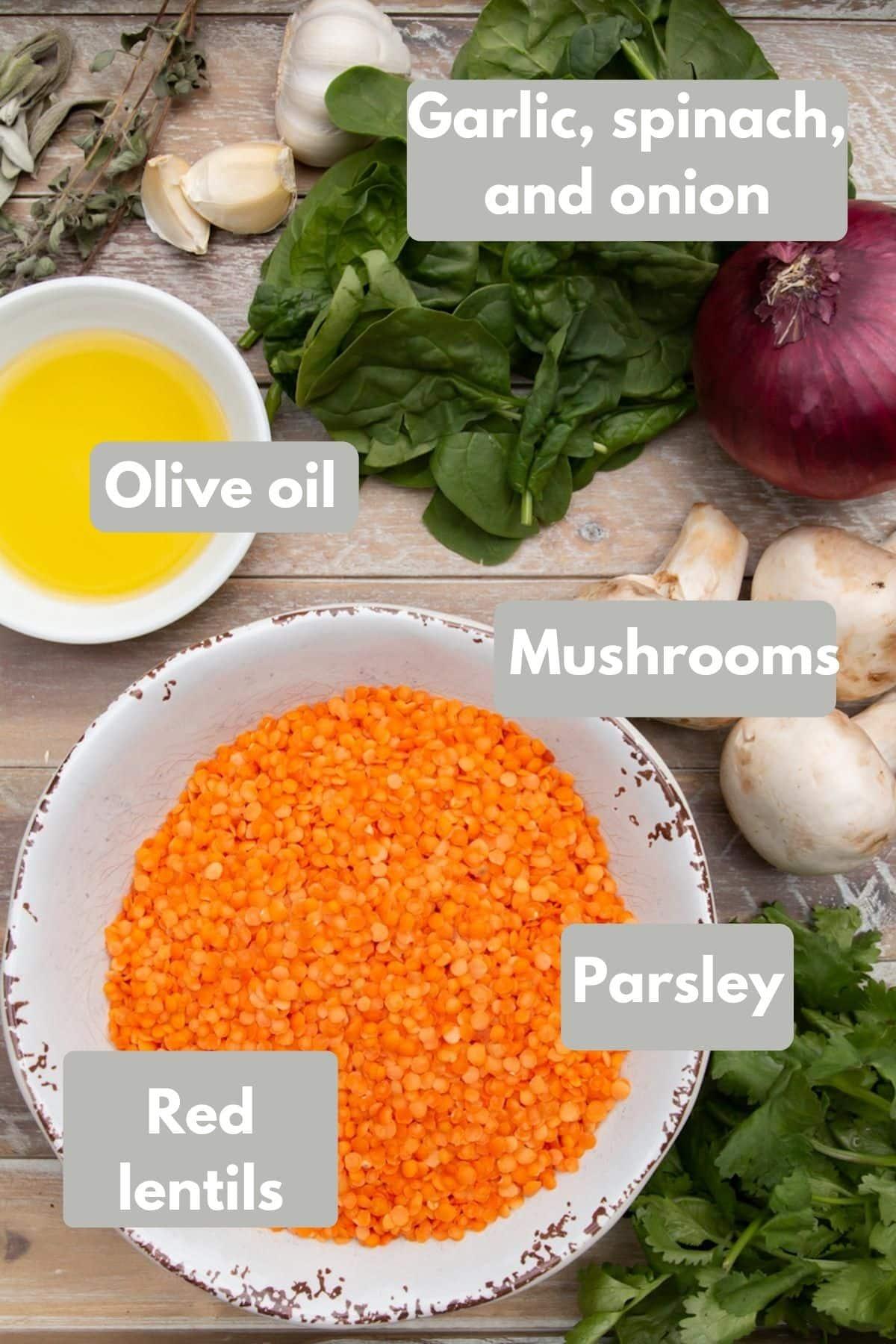 ingredients for vegan lentil loaf