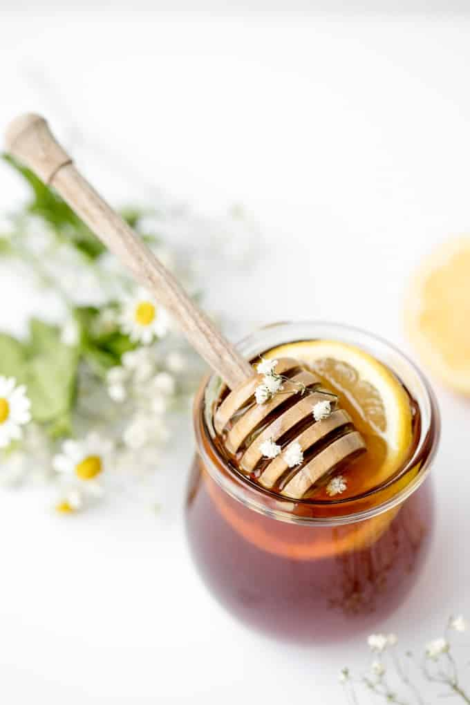 raw honey with flowers