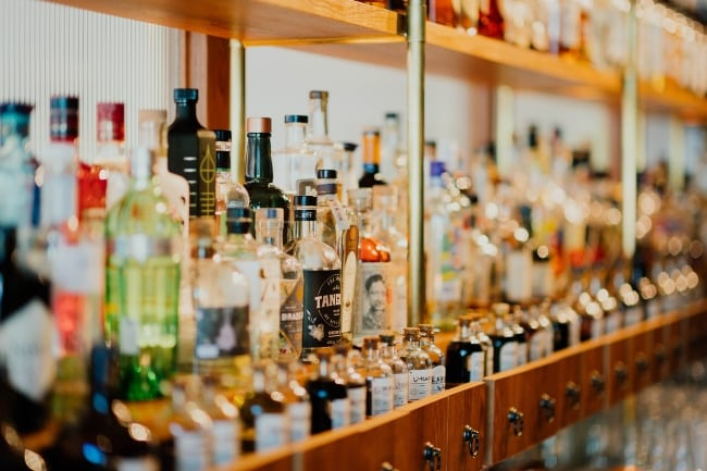 Bar selection, assorted alcohol bottles