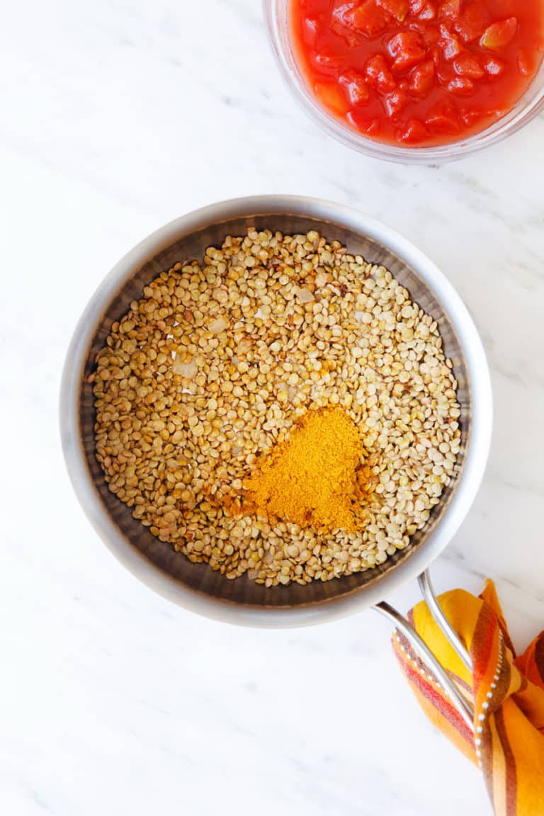 lentils and other ingredients for this curry recipe