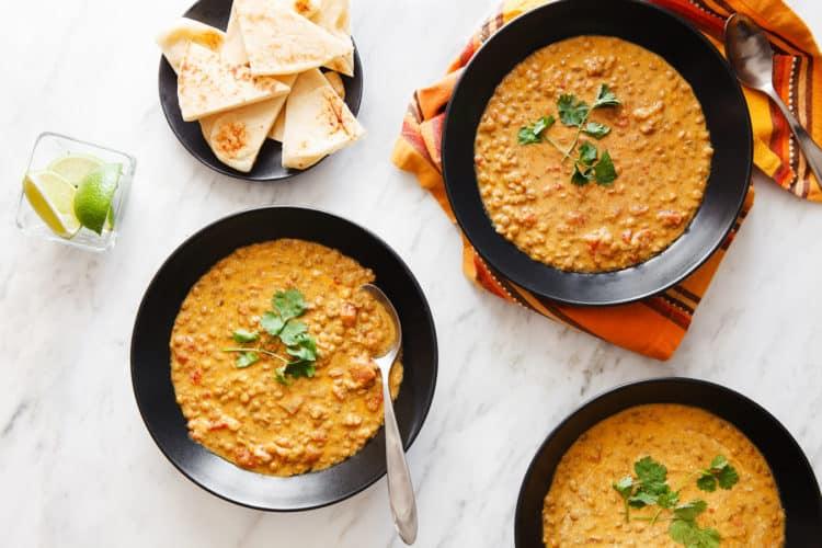 Coconut Lentil Curry two bowls