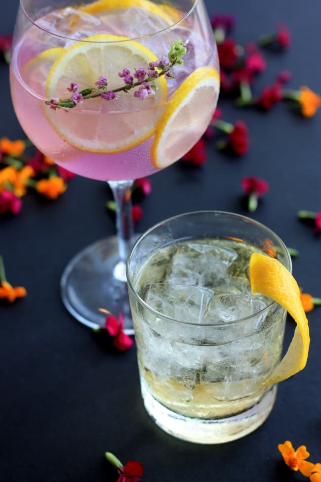 Floral cocktails on the counter