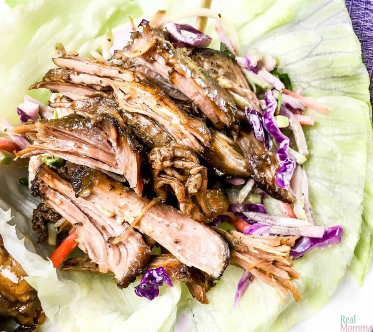 A shredded pork lettuce wrap