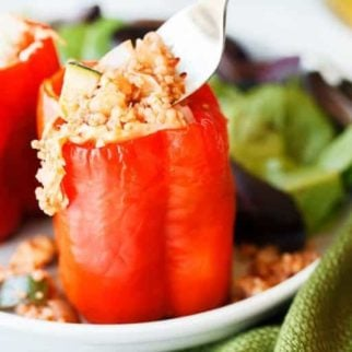 stuffed peppers with a fork ready to eat