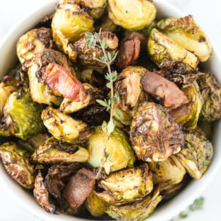 bowl of air fryer brussels sprouts with bacon