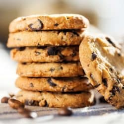 stack of vegan and gluten-free chocolate chip cookies