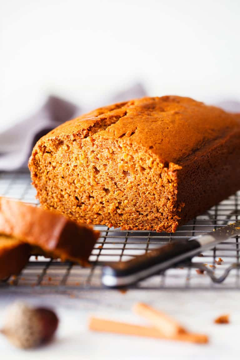 sweet potato bread on a cooling rack