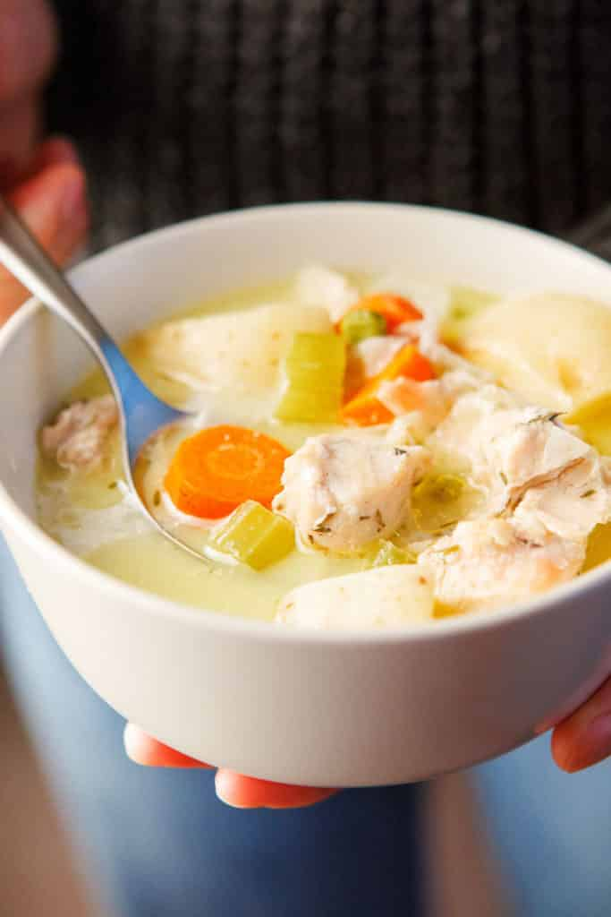 Crock pot coconut chicken stew if dairy-free, gluten-free and grain-free. It freezes and reheats well for an easy lunch.
