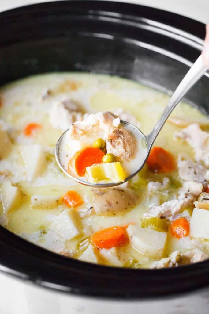 Creamy dairy-free chicken stew made in a crock pot.