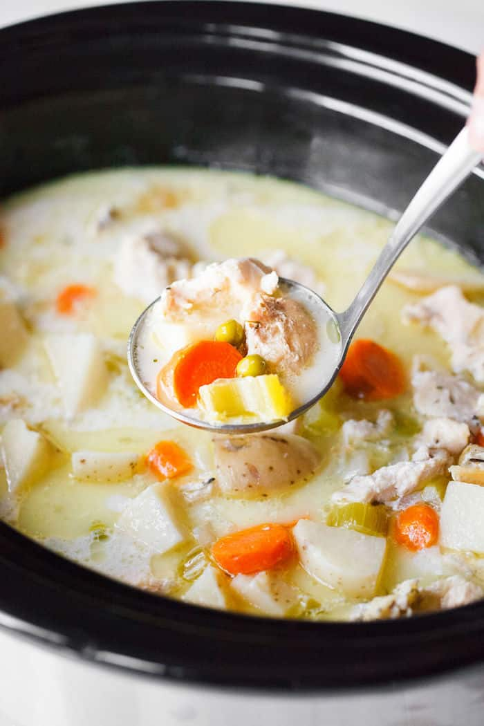 Creamy dairy-free chicken stew made in a crock pot.