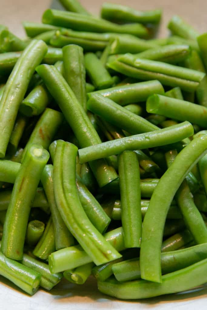 A pile of prepped green beans.