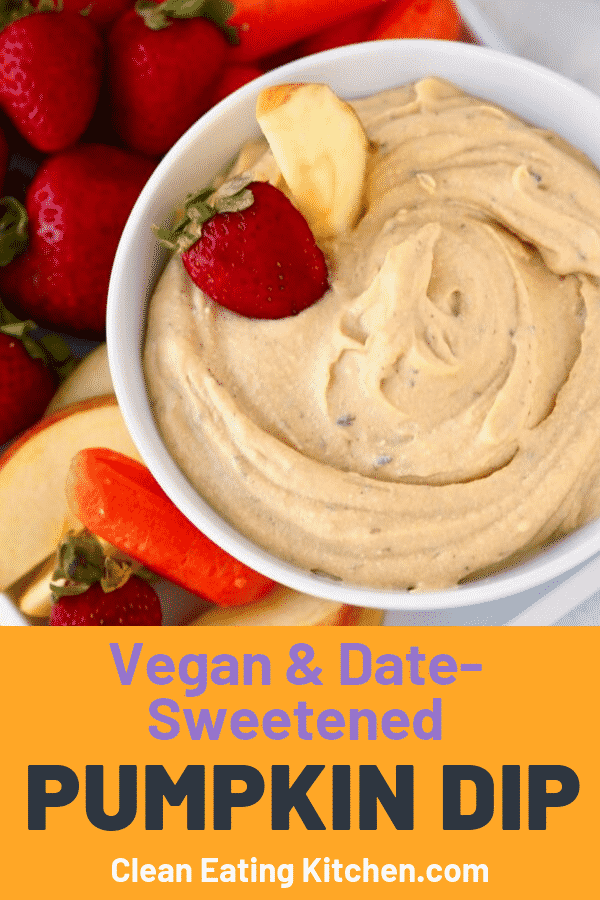 This Vegan Pumpkin Dip is a healthy and delicious way to enjoy the flavors of the fall season. Serve this sweet, dairy-free dip with fruit, veggies, or pretzels at your next party.