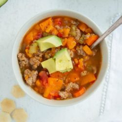 Instant Pot Turkey Sweet Potato Chili in a bowl