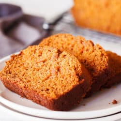 plate with slices of sweet potato bread