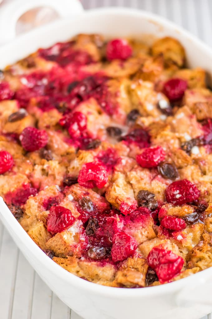 Warm bread pudding in a dish is easy to make.