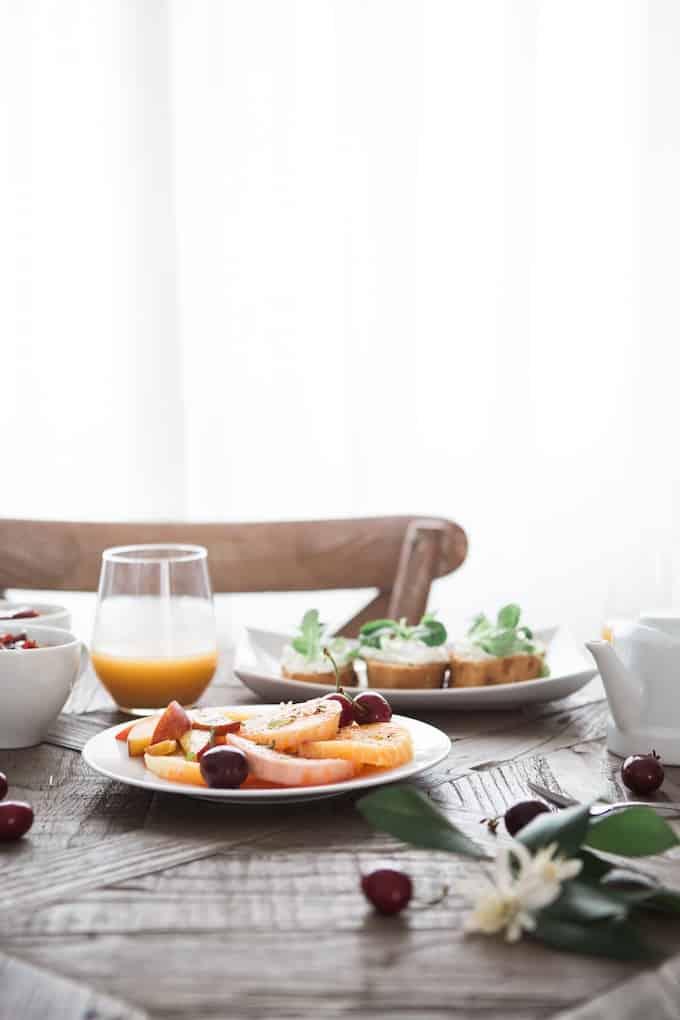 healthy breakfast in a white kitchen