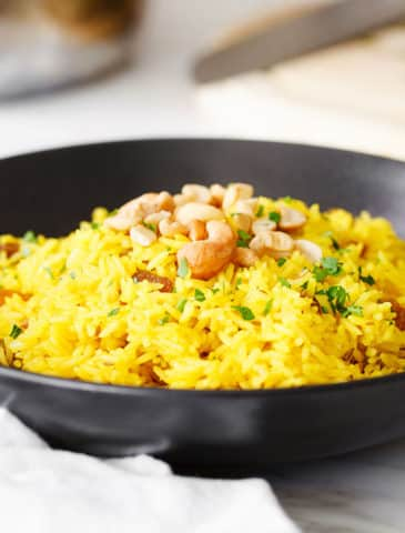 indian yellow rice in bowl