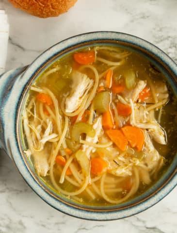 instant pot chicken noodle soup in a bowl