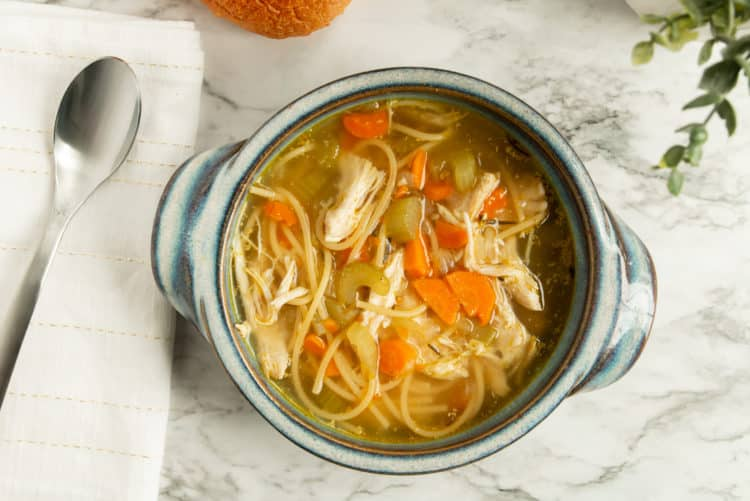 Finished Chicken Noodle Soup. Easy to make in the Instant Pot.