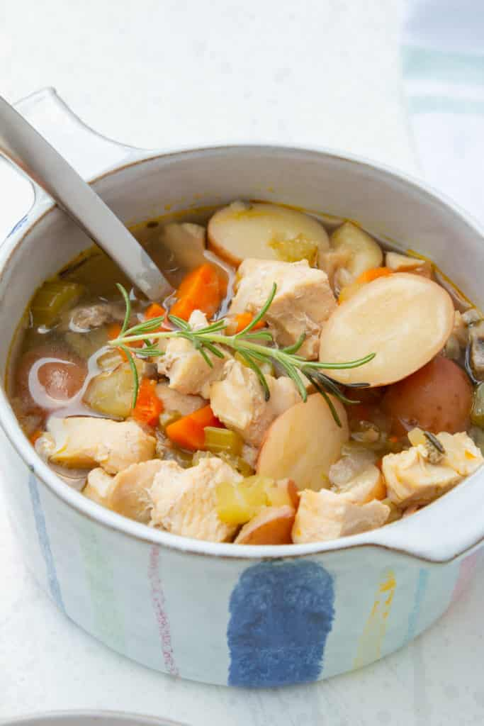 A pot of hearty chicken stew.