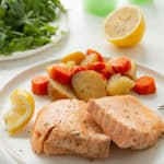 instant pot salmon and vegetables on a plate