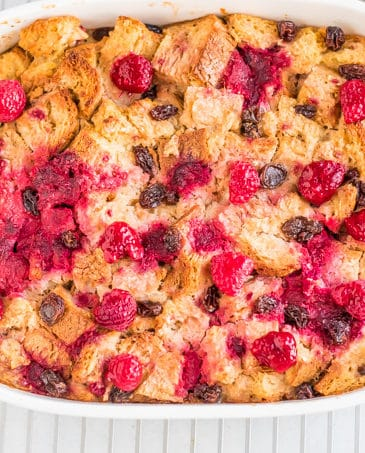 raspberry bread pudding