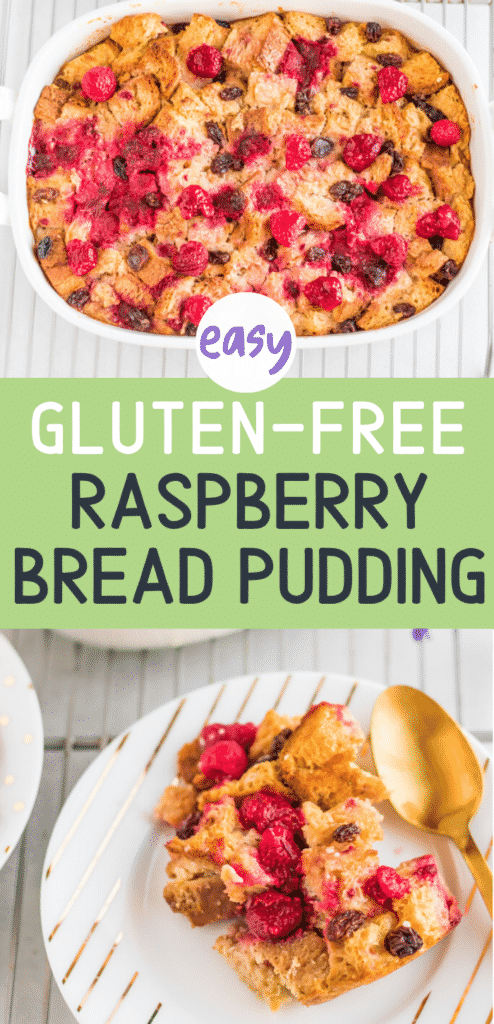 This easy Gluten-Free Raspberry Bread Pudding is the perfect fall dessert. It's a comforting dessert full of raspberry flavor.