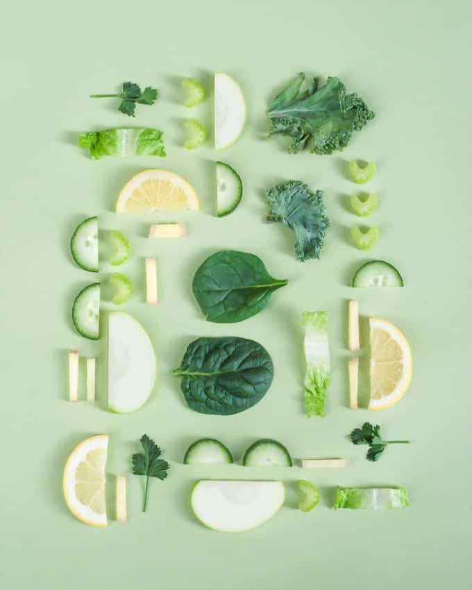 vegetables and lemon slices in a pattern