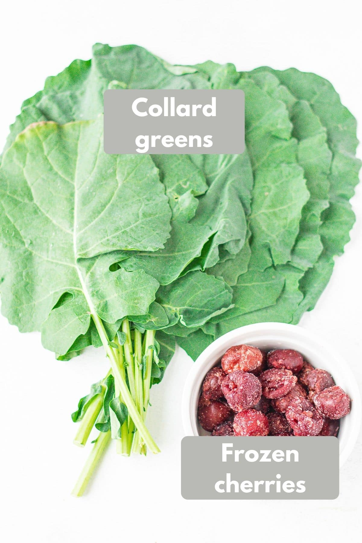 Collard green smoothie labeled ingredients