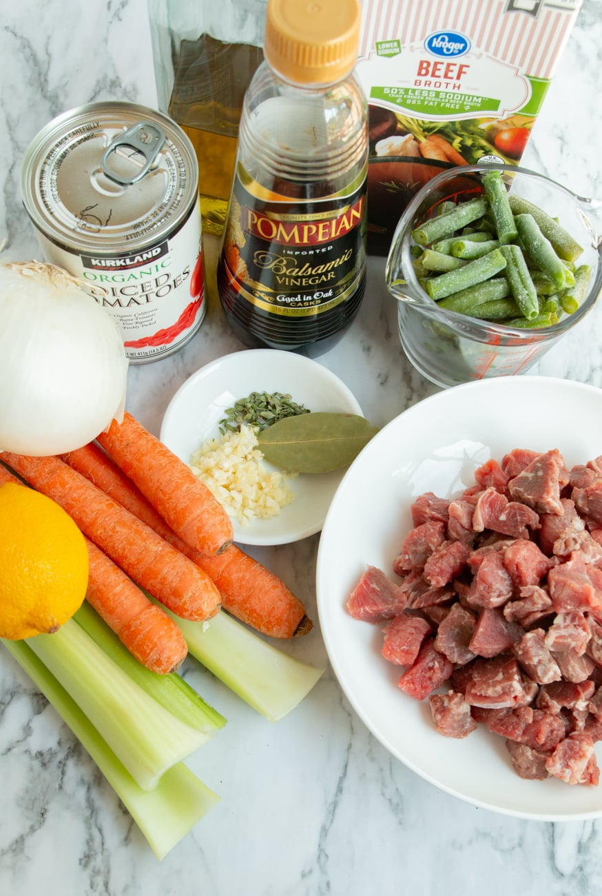 Ingredients for a delicious and easy Instant Pot Beef Veggie Soup.