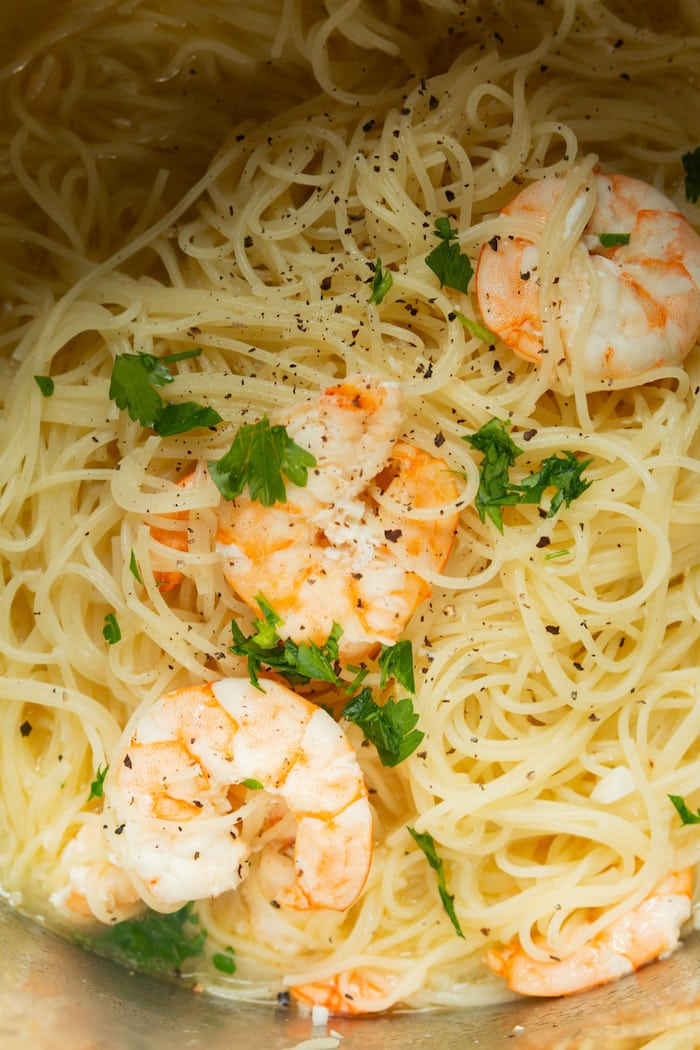 Easy shrimp scampi pasta cooked in the Instant Pot.