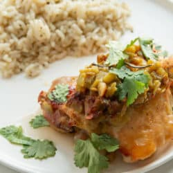 plate with chicken and rice