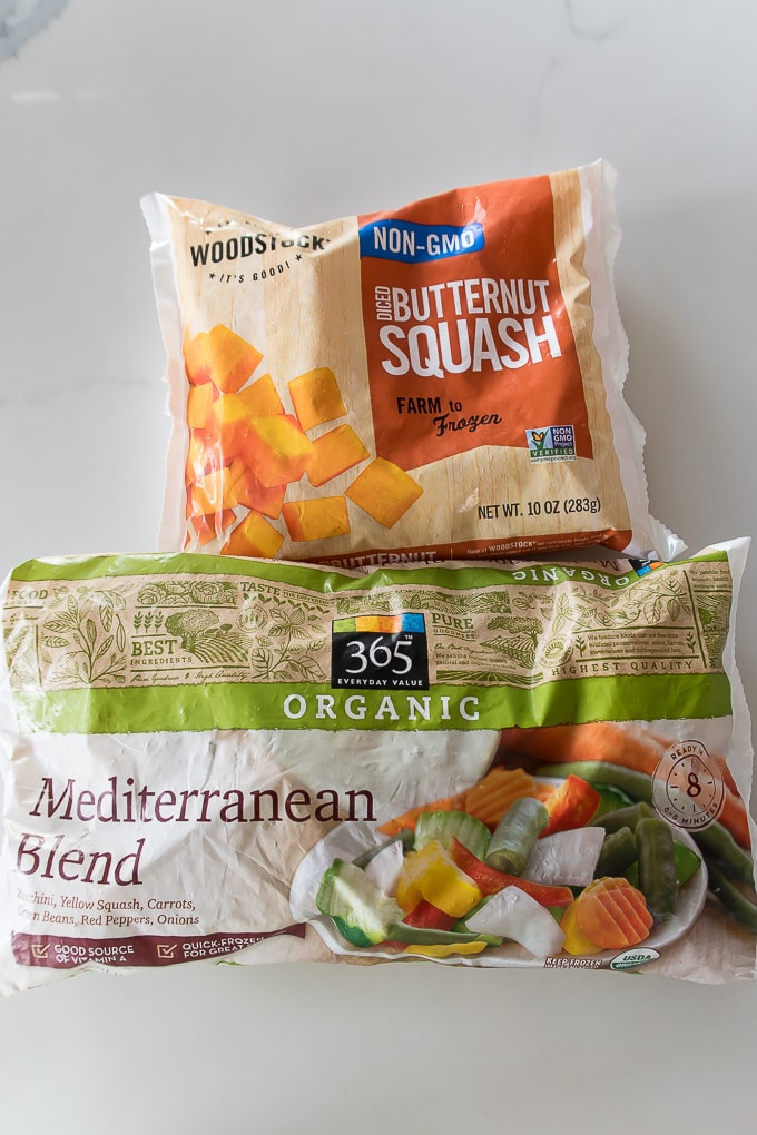 Frozen butternut squash and mediterranean blend vegetables.