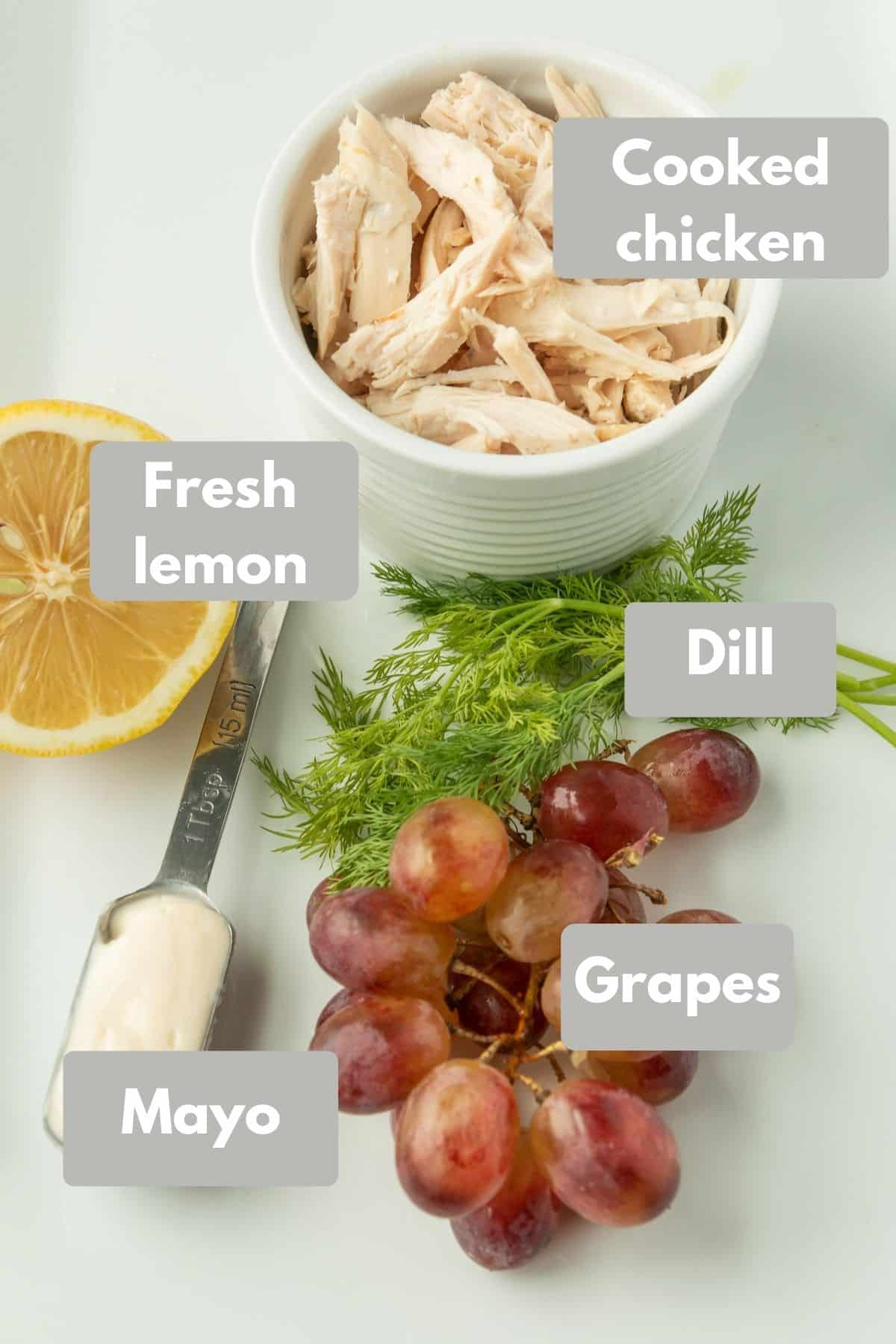 ingredients for clean eating chicken salad