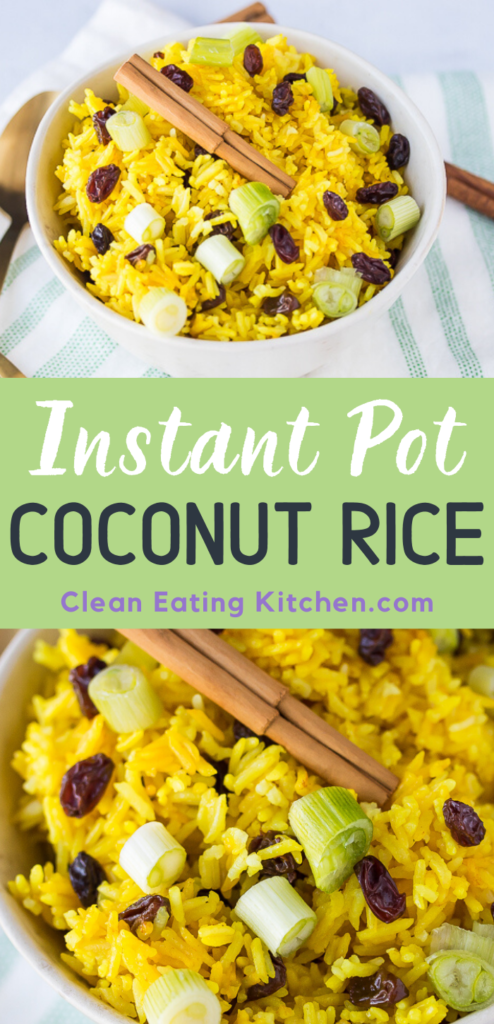 This delicious Instant Pot Coconut Rice recipe is easy and comforting, with a delicate coconut flavor. The raisins make it slightly sweet and the ground turmeric makes it a lovely yellow color.