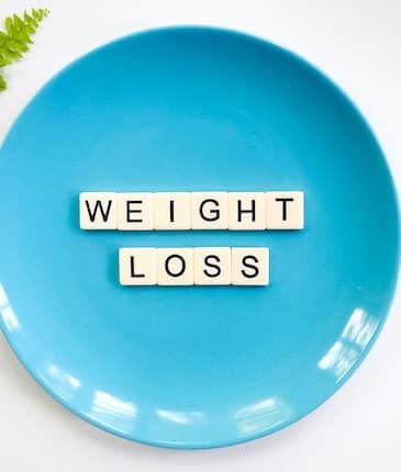 weight loss spelled out in scrabble letters