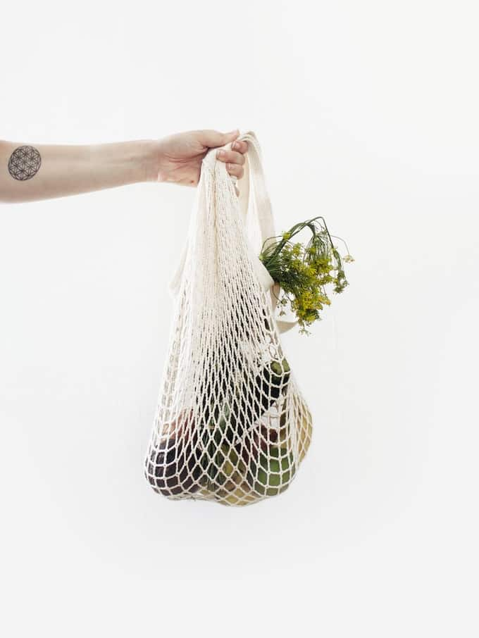 bag of vegetables in a mesh bag