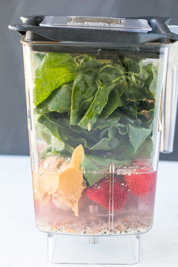 dairy free strawberry green smoothie in the blender