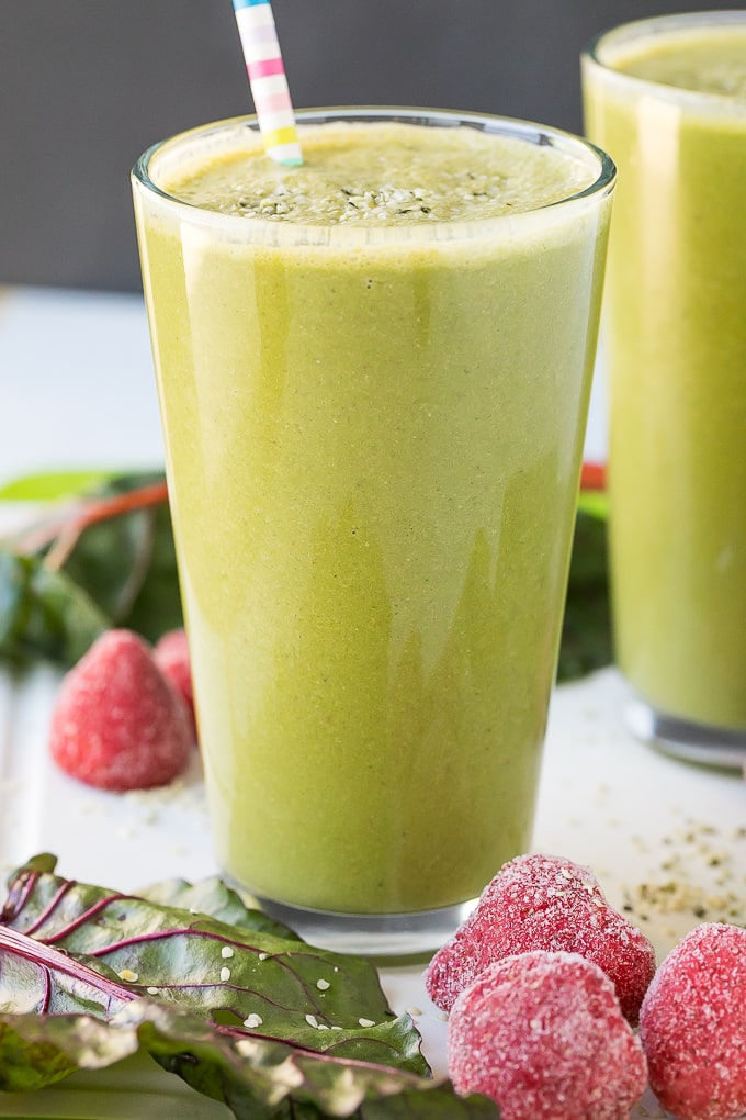dairy free strawberry green smoothie side angle