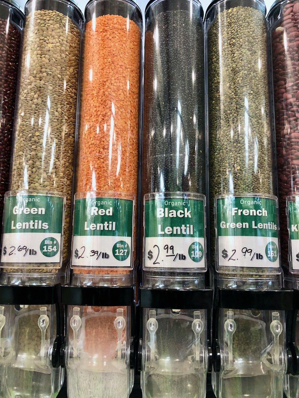 lentils in bulk bins
