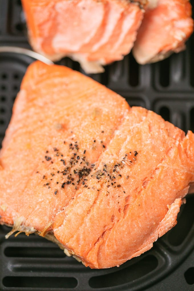 salmon cooked in an air fryer