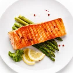 air fryer salmon served with asparagus
