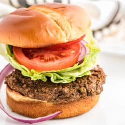 lentil burger served on a bun with tomato